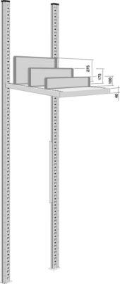 Trennwand, freistehend, für Regaltiefe 800 mm, H 100 mm
