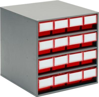TRESTON- onderdelenkastje, type 1640, rood