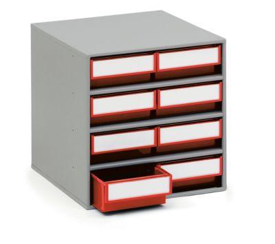 TRESTON Schubladenmagazin 0840, 8 Schubladen, T 400 mm, rot