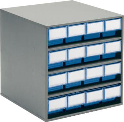 TRESTON Schubladenmagazin 1640, 16 Schubladen, T 400 mm, blau