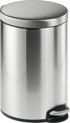 Treteimer Metall rund, Soft Close, 12 Liter, Edelstahl