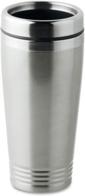 Trinkbecher, doppelwandig, Edelstahl/PP, 400 ml, WAB 40x20 mm, mattsilber