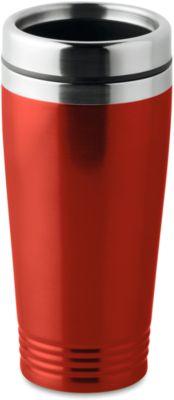 Trinkbecher, doppelwandig, Edelstahl/PP, 400 ml, WAB 40x20 mm, rot