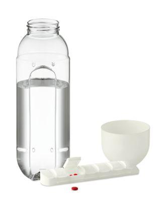 Trinkflasche BOTTLE PILL, weiß, Tritan, 600 ml, inkl. Pillendosierer mit 7 Fächern, Tampondruck 30 x 20 mm