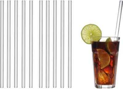 Trinkhalme aus Glas, spülmaschinenfest, lebensmittelecht, long, 10 St., m. Werbefläche