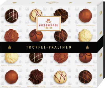 Trüffel-Pralinen Niederegger, mit Zartbitter-, Vollmilch- und weißer Schokolade, 208 g