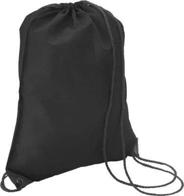Turnbeutel Premium, aus Polyester, mit Zugkordel, schwarz