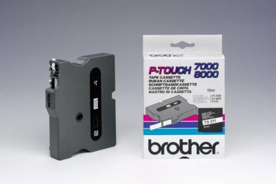 TX-tapecassette TX-211, 6 mm breed, wit/zwart