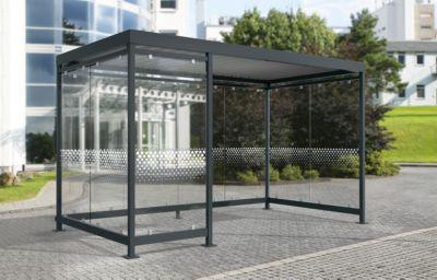 Überdachungssystem Modell Köln K3 d/b, fertig montiert, verkehrsweiß