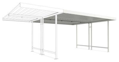 Überdachungssystem Modell Leipzig, doppelseitig, Anbaueinheit, B 4300 mm, grauweiß