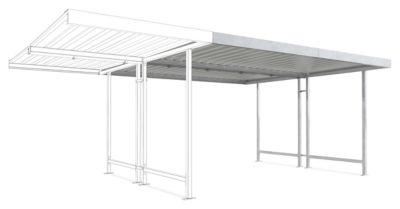 Überdachungssystem Modell Leipzig, doppelseitig, Anbaueinheit, B 4300 mm, verzinkt