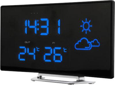 Uhrenradio Soundmaster FUR100, UKW PLL, mit Wetterstation + Außensensor, Curved Design, schwarz