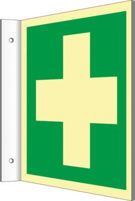 Uithangbordje met EHBO-symbool, lang reflecterend