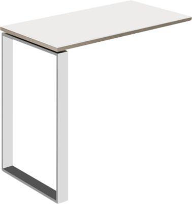 uittrekbare tafel Mooi, met wit glas, T 848 mm, voor bureau Mooi, zand/wit glas matglas