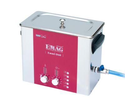 Ultrasoonreiniger EMAG Emmi® D 60, roestvrij staal, 5,3 l, Veeg & ontgras, timer, afvoer & verwarming, EMAG Emmi® D 60, 5,3 l, Veeg & ontgras, timer, afvoer & verwarming