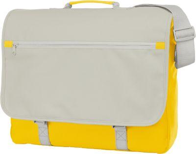 Umhängetasche Congress, 600D Poyester, zweifarbig, mit Reißverschverschluss-Hauptfach, gelb