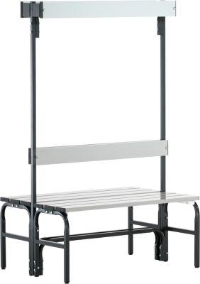 Umkleidebank, Stahlrohr/Alu, doppelt mit Garderobenteil, 1015 mm lang, anthrazit