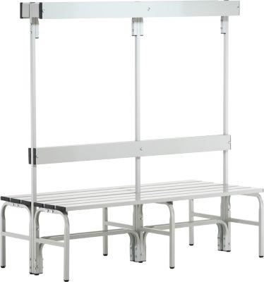 Umkleidebank, Stahlrohr/Alu, doppelt mit Garderobenteil, 1500 mm lang, lichtgrau