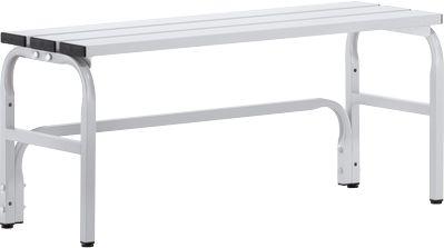 Umkleidebank, Stahlrohr/Alu, einfach, 1015 mm lang, lichtgrau