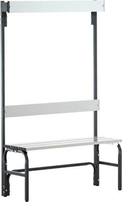Umkleidebank, Stahlrohr/Alu, einfach mit Garderobenteil, 1015 mm lang, anthrazit