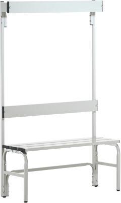 Umkleidebank, Stahlrohr/Alu, einfach mit Garderobenteil, 1015 mm lang, lichtgrau