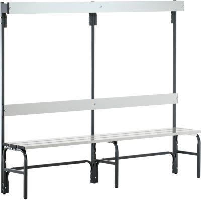 Umkleidebank, Stahlrohr/Alu, einfach mit Garderobenteil, 2000 mm lang, anthrazit
