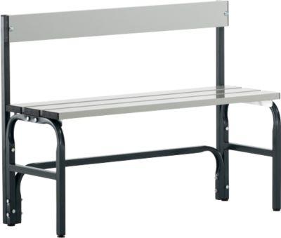 Umkleidebank, Stahlrohr/Alu, einfach mit Rückenteil, 1015 mm lang, anthrazit