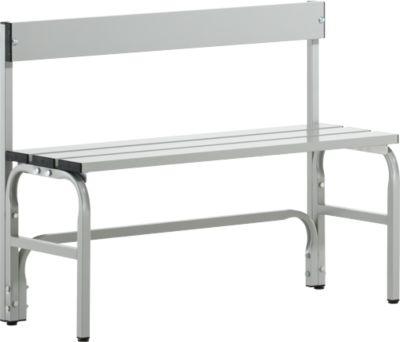 Umkleidebank, Stahlrohr/Alu, einfach mit Rückenteil, 1015 mm lang, lichtgrau