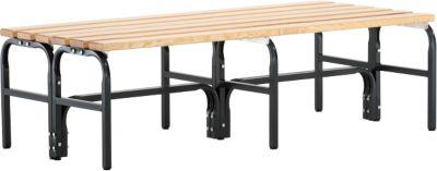 Umkleidebank, Stahlrohr/Holz, doppelt, L 1500 mm, anthrazit