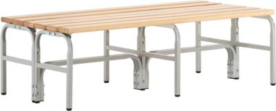 Umkleidebank, Stahlrohr/Holz, doppelt, L 1500 mm, lichtgrau
