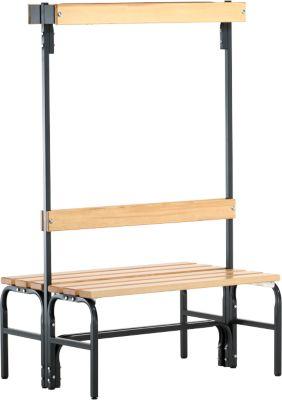 Umkleidebank, Stahlrohr/Holz, doppelt, mit Garderobenteil, L 1015 mm, anthrazit
