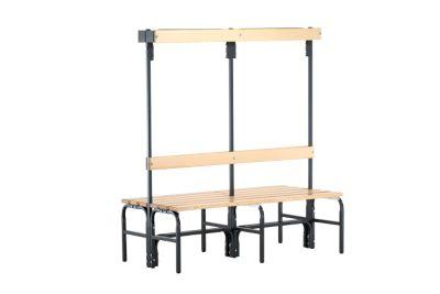 Umkleidebank, Stahlrohr/Holz, doppelt, mit Garderobenteil, L 1500 mm , anthrazit