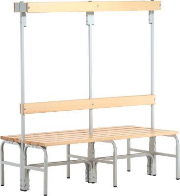 Umkleidebank, Stahlrohr/Holz, doppelt, mit Garderobenteil, L 1500 mm , lichtgrau