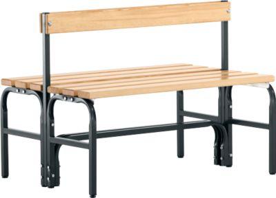 Umkleidebank, Stahlrohr/Holz, doppelt, mit Rückenteil, L 1015 mm, anthrazit