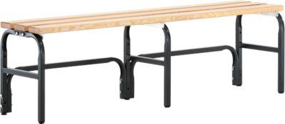 Umkleidebank, Stahlrohr/Holz, einfach, L 1500 mm, anthrazit