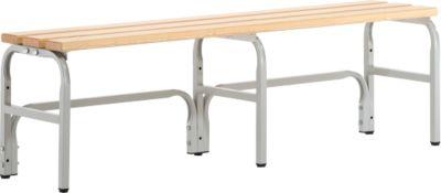 Umkleidebank, Stahlrohr/Holz, einfach, L 1500 mm, lichtgrau