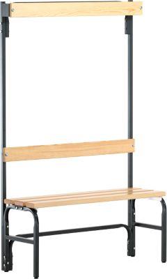 Umkleidebank, Stahlrohr/Holz, einfach, mit Garderobenteil, L 1015 mm, anthrazit