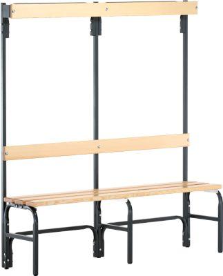 Umkleidebank, Stahlrohr/Holz, einfach, mit Garderobenteil, L 1500 mm, anthrazit
