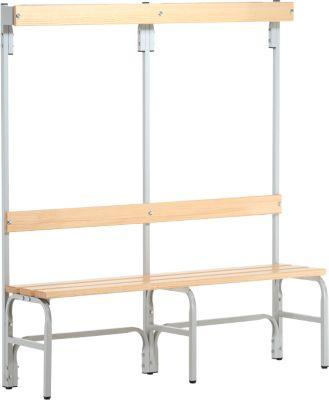 Umkleidebank, Stahlrohr/Holz, einfach, mit Garderobenteil, L 1500 mm, lichtgrau