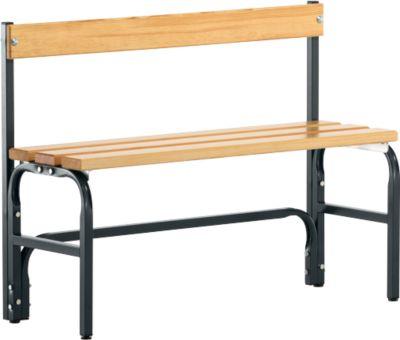 Umkleidebank, Stahlrohr/Holz, einfach, mit Rückenteil, L 1015 mm, anthrazit