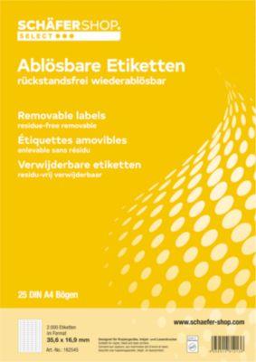 Universal-Etiketten, wiederablösbar, 35,6 x 16,9 mm, 2000 Stück