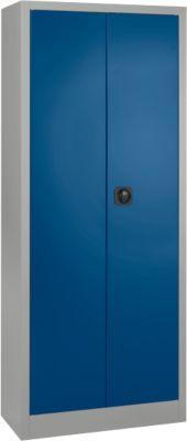 Universele kast, staal, vergrendelbaar, D 400 x H 1935 x B 800 mm, 5 OH, aluzilver/gentiaanblauw