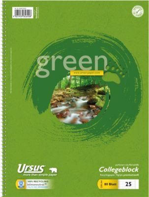Ursus Collegblock Green, A4, 80 Blatt, liniert
