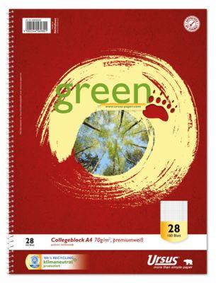 Ursus® Green Collegeblock, A4, 160 Bl. 5mm kariert