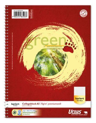 Ursus® Green Collegeblock, A5, 160 Bl. 5mm kariert