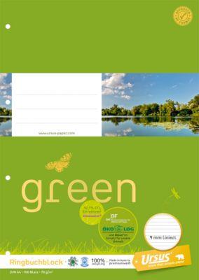 Ursus Ringbuchblock Green, DIN A4, liniert, 100 Blatt