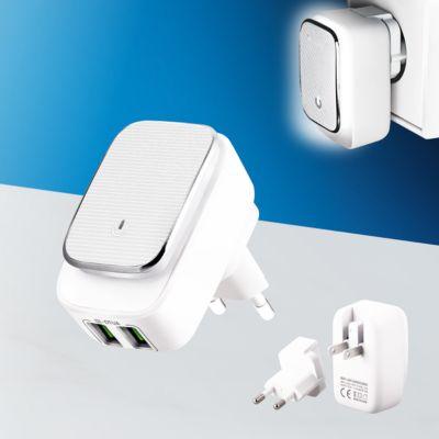 USB-Ladegerät 2-Port Reiseadapter Weiß mit Nachtlicht