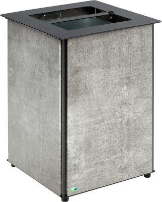VAR Abfallbehälter, Inhalt 80 L, mit Dreikant-Schloss, zur Bodenbefestigung, betonoptik