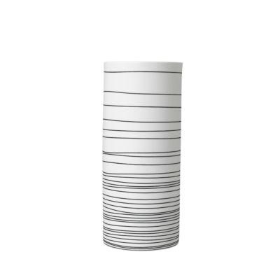 Vase Blomus Zebra, handgefertigt, Porzellan,weiß/anthrazit, H 250 mm