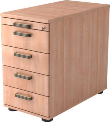 Vast ladeblok TOPAS LINE, 4 schuifladen, 1 materiaallade, afsluitbaar, notenboomdecor/notenboomdecor